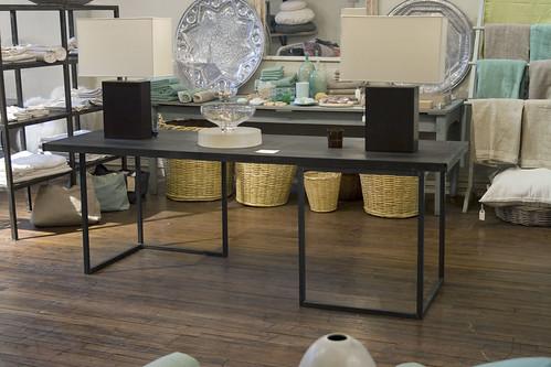 metal trestle table, sumi finish