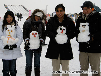 Mark, Meiyen, Rachel and I showing off our snowmen