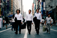 Resevoir Dogs; Ginza, Tokyo (Alfie | Japanorama) Tags: street people men japan walking japanese tokyo ginza suits candid saturday relaxed crowds salaryman businessmen salarymen streetphotographyintokyo