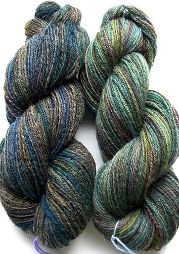 1 skein Jacobs Humbug, 1 skein Shetland Humbug-1