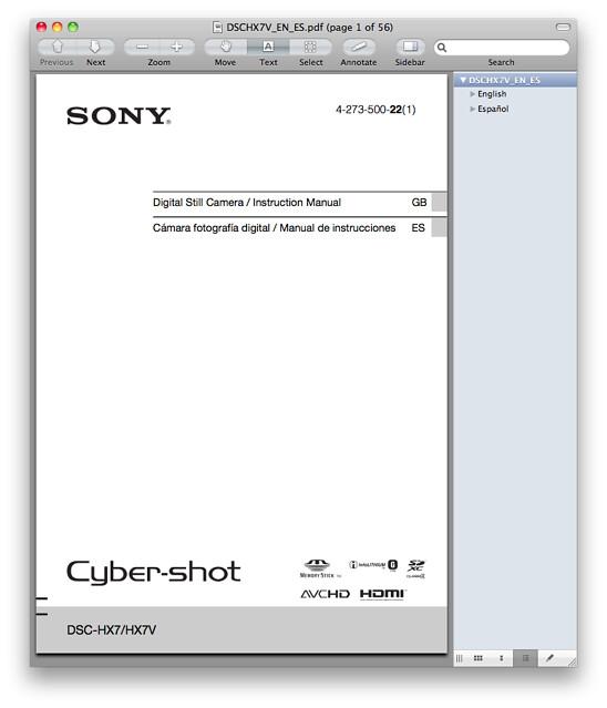 Sony HX7V Manual
