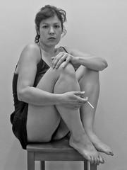 eccola-0085-2 (Cristian Photocuba) Tags: girl donna lingerie sguardo sola autoscatto gambe ivonne sigaretta sottoveste femminilit spettinata