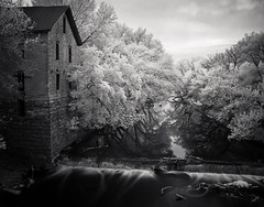 Cedar Point Mill (Rodney Harvey) Tags: longexposure blackandwhite reflection mill abandoned stone river waterfall dam infrared kansas gristmill nd110 cedarpointmill