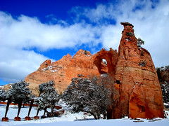 Window Rock, Navajo Nation  US Veteran's Memorial Park (Nihihiro & Shihiro) Tags: arizona snow window rock capital nation az navajo recent 35faves abigfave colorphotoaward aplusphoto superbmasterpiece frhwo