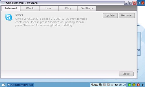 EEEPC Skype Update Screen
