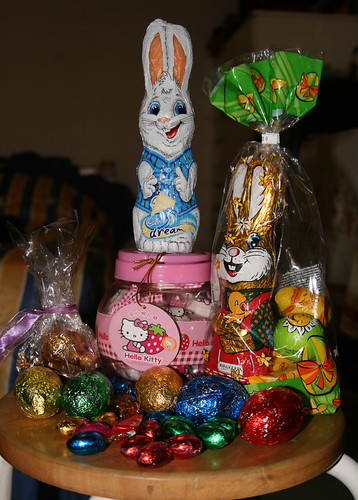 easter bunnies and eggs from the hunt and hello kitty marshmallows