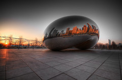 Go get your morning bean (iceman9294) Tags: morning sculpture chicago reflection sunrise mirror illinois bravo bean professional millenniumpark cloudgate thebean anishkapoor hdr highdynamicrange chriscoleman themoulinrouge photomatix 100faves outstandingshots abigfave infinestyle 3xphandheldhdr iceman9294 world100f