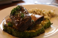 red wine-braised beef short rib with broccoflower steak