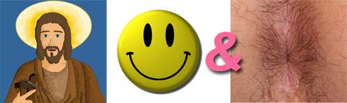Una foto de un santo, un smiley sonriente, un ampersand y un ojete.