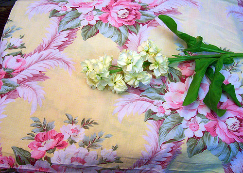 fabric and flowers