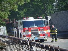 Firetruck at the Ready (L33tminion) Tags: cambridge boston fire disasters
