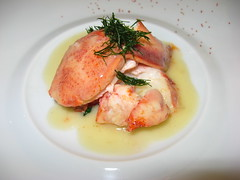 Everest: Roasted maine lobster in alsace gewurztraminer, butter and ginger (close up)