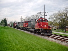 Eastbound Canadian National freight train. North Riverside Illinois. April 2007.