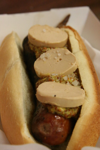 Bacon-Pheasant Sausage, Foie Mousse and dijon mustard, Hot Doug's