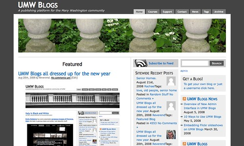 UMW Blogs with Gray Background