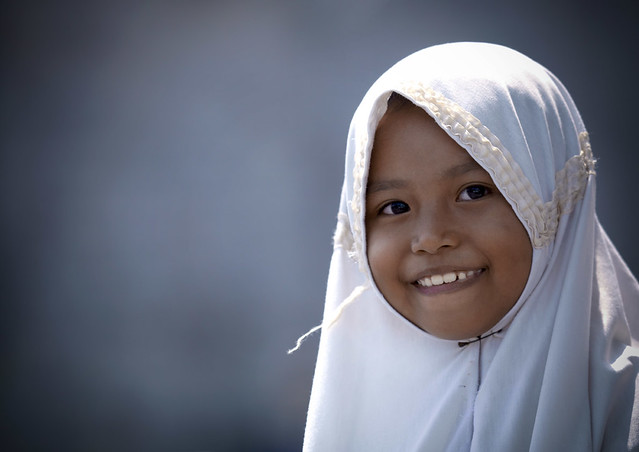smiling little girl, Veiled girl smiling, Java, Indonesia