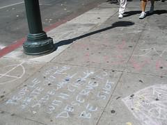 sidewalk irony (number657) Tags: people chalk grafitti sidewalk deserve