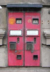 Old postage stamp dispenser machines, Wem (wonky knee) Tags: uk shropshire machine stamp wem stampmachine postagestampmachines oldstampmachine
