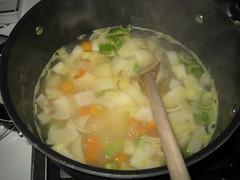 Preparing Cheesy Potato Chowder