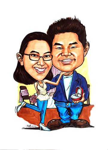 Couple wedding caricatures solemnisation @ Dalla Restaurant & Bar, Boat Quay