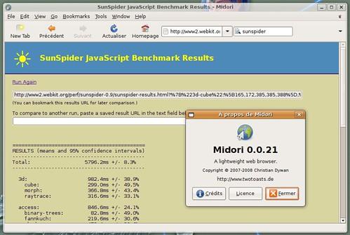 5796 ms avec Midori sur SunSpider
