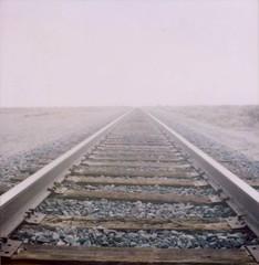 The wind tasted like salt (~KIM~) Tags: polaroid vanishingpoint traintracks slr680 680