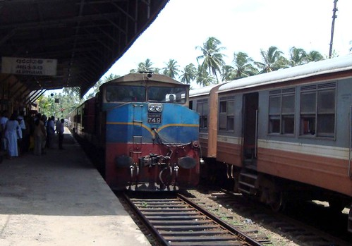 "Class M4 heading ""Rajarata Rajini"" coming to a stop at Aluthgama"