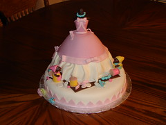 Cinderella and Mice Birthday Cake (Little Sugar Bake Shop) Tags: pink birds buttons sewing working pearls needle cinderella bows spool dressmice
