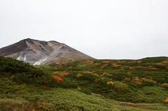 旭岳温泉への下山で旭岳を振り返る