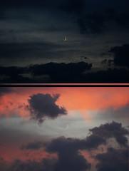 (Art By Monica) Tags: pink blue light moon black night clouds dark stars purple