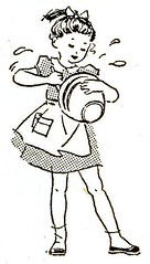 Girl Mixing Cake (Wyld_Hare) Tags: cooking girl vintage cookbook graphics mixing chldren