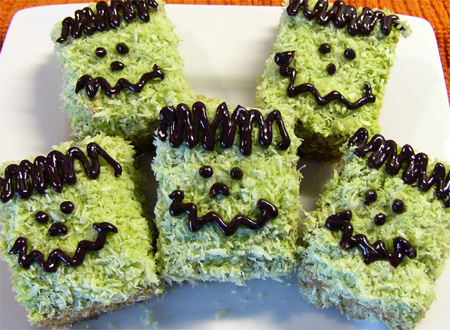 Halloweegan Frankenstein Squares