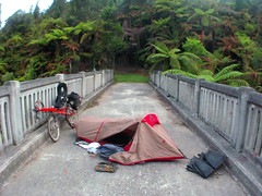 Camping on the Bridge to Nowhere, Whanganui National Park, New Zealand