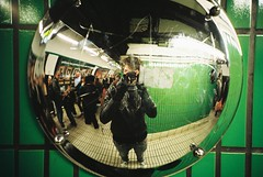 Lomo 05▸07 (ukaaa) Tags: selfportrait green london film me station wall analog 35mm court myself underground mirror lomo lca lomography metro kodak tube fisheye negative pointandshoot analogue 135 uka portra portra160vc tottingham ukaaa