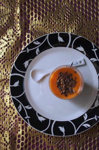 Gelatina di peperoni rossi e fave di cacao...