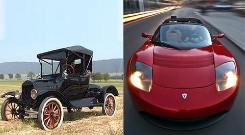 1908 Model T Ford & Tesla Roadster