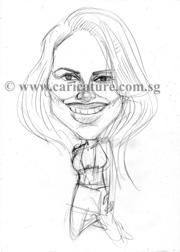 Celebrity caricatures - Halle Berry pencil sketch watermark