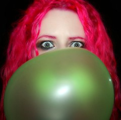 Day 335 of 365 (wisely-chosen) Tags: november selfportrait me gum bubble 2008 pinkhair picnik 365days naturallycurlyhair manicpanichothotpink biggestbubbleevar