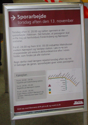 Close-up of the sign notifying customers of the delays with the train service on November 13