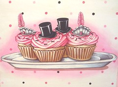 """Top hats & Tiaras"" (holiday_jenny) Tags: birthday christmas pink winter black tiara cute art cake vintage silver shopping painting cupcakes holidays chocolate retro part polkadots bakery tophat newyearseve crown frosting seet everydayisaholiday jennysbakeshop"