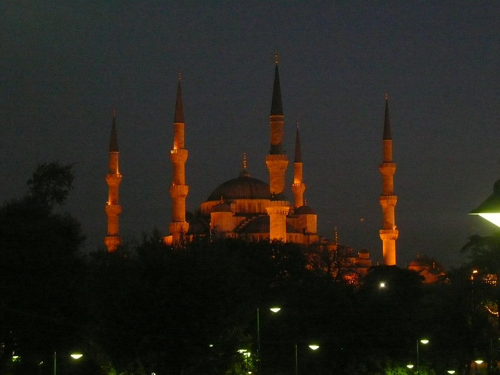 The Blue Mosque in the evening