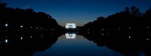 Lincoln Memorial after sunset, shot across the reflection pool.