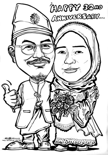 Malay couple traditional  wedding anniversary caricatures