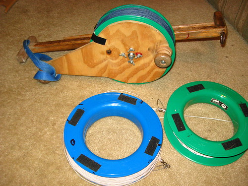 Kite Winder - Prototype Stratospool with Interchangeable Hoop Spool Reels
