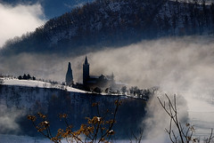 A church in the mist