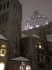 Christian Science Church in the Snow (BostonCityWalk) Tags: trees winter snow storm building church boston night pretty path massachusetts dome csc christiansciencecenter christiansciencechurch christianscienceplaza december192008 lightsfootsteps