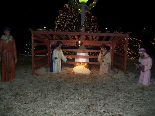 the nativity scene on the town square