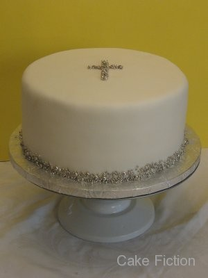 Baptism Cake with Silver Cross