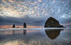 why we came (richietown) Tags: ocean sunset reflection topv111 clouds oregon canon topv555 topv333 haystack cannonbeach haystackrock hdr 30d photomatix 3exp richietown