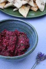 Beetroot & walnut pate with coriander, parsley & mint